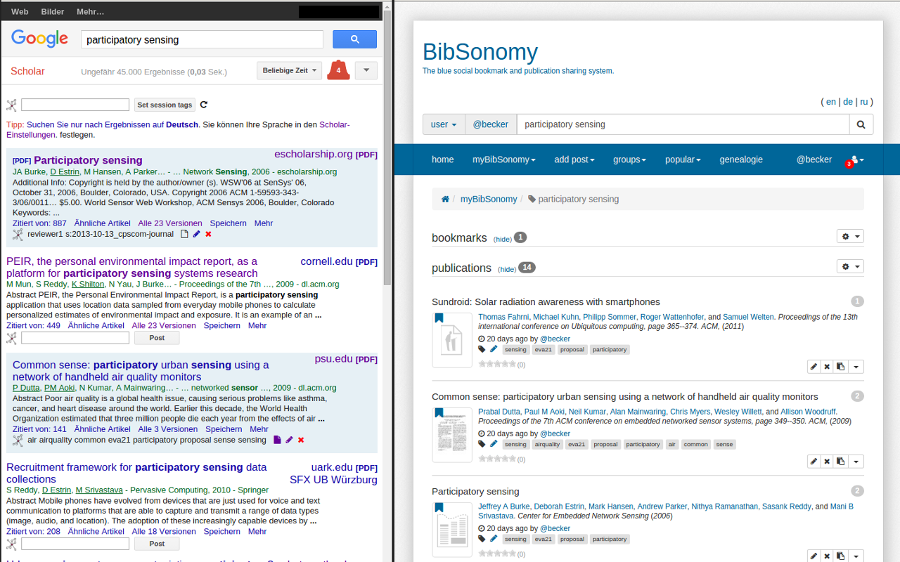 BibSonomy Scholar integrating with Google Scholar.