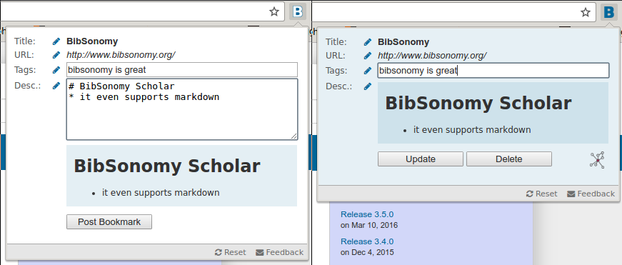 BibSonomy Scholar - Quick Bookmark Button